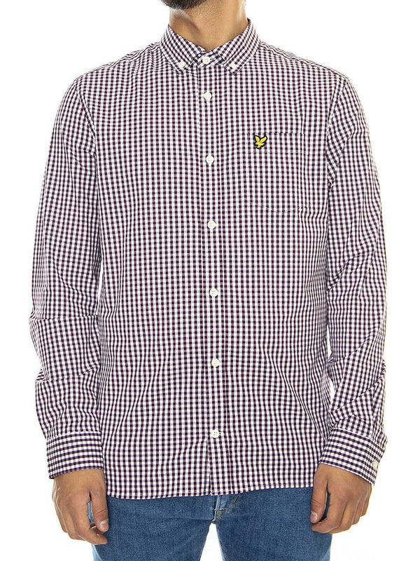 Lyle & Scott Uomo Camicia Manica Lunga Slim Botton Down a Quadretti Bordeaux