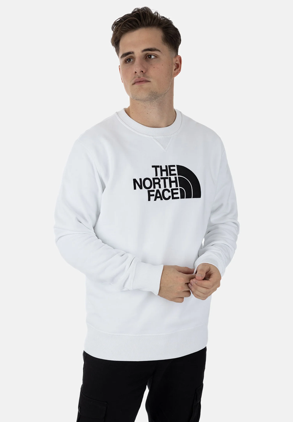 The North Face Uomo Felpa Manica Lunga Sweatshirt Round Neck Logo White