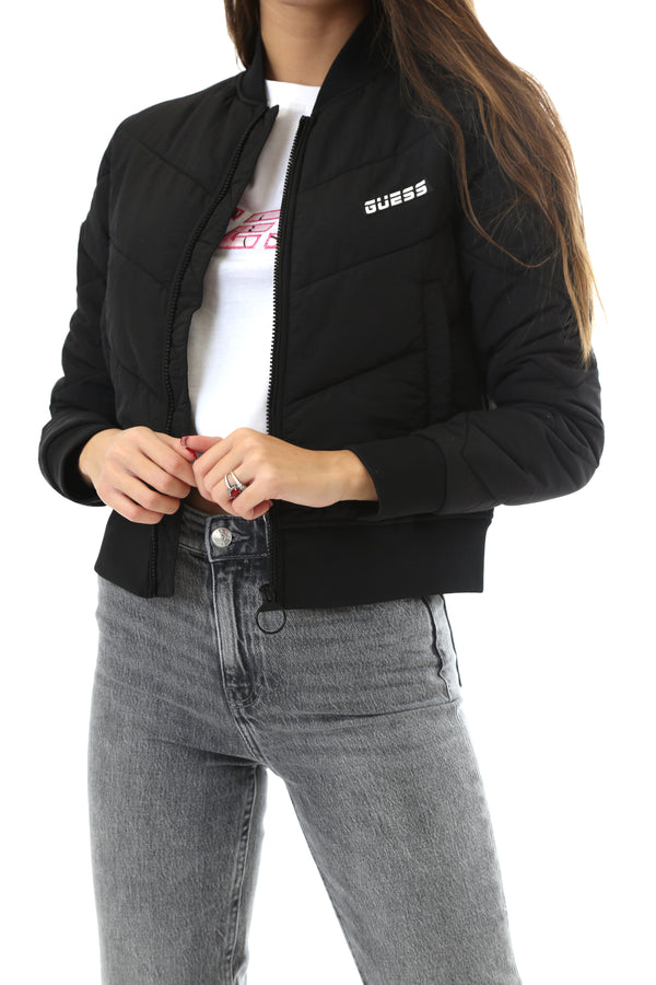 Guess Donna Giubbotto  Bomber Jacket Manica Lunga Black
