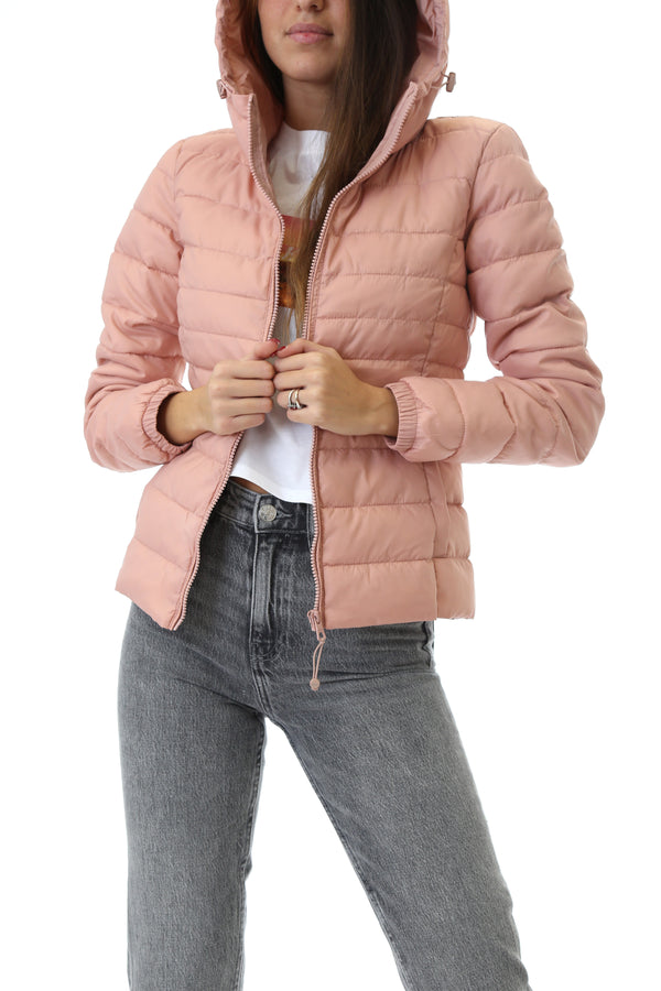 Only Donna Giubbotto Imbottito Bomber Tahoe Hood Pink