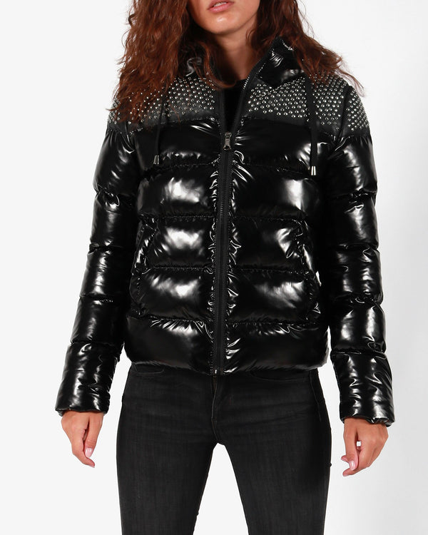 Gio Cellini Donna Giubbotto Imbottito Piumino Borchie Winter Puff Jacket Black