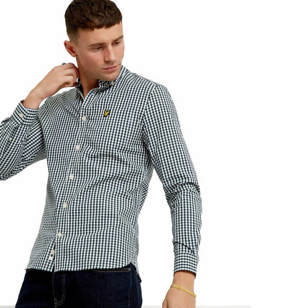 Lyle & Scott Uomo Camicia Manica Lunga Slim Botton Down a Quadretti Blu