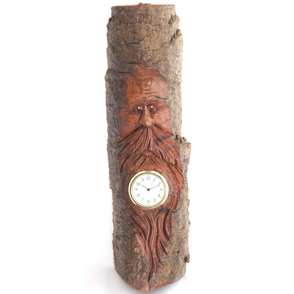 Woodspirit Clock, Carved Bark Wall Piece
