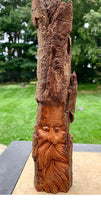 Medium Woodspirit, Carved Bark Wall Piece