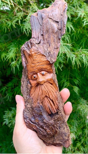 Small Woodspirit, Carved Bark Wall Piece