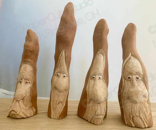 Cypress Knee Spirits, Carved Wood Free-standing Ornament