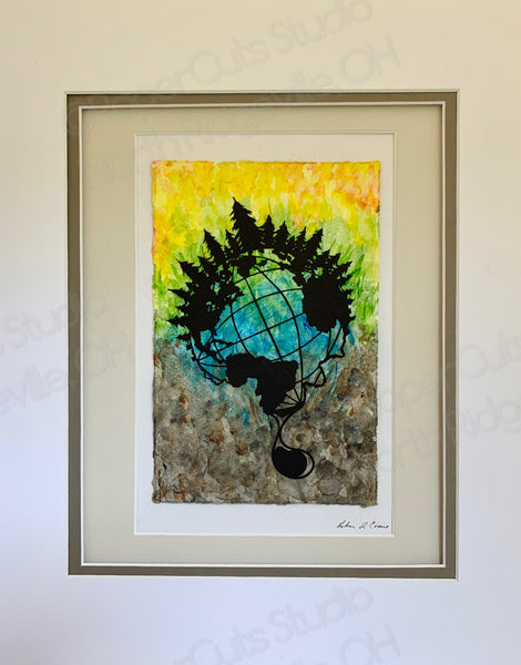 Tears of the World, Cut Paper Art, Matted