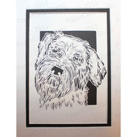 Wirehaired Pointing Griffon Cut Paper Art, Matted