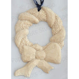 Holiday Wreath, Carved Wood Ornament