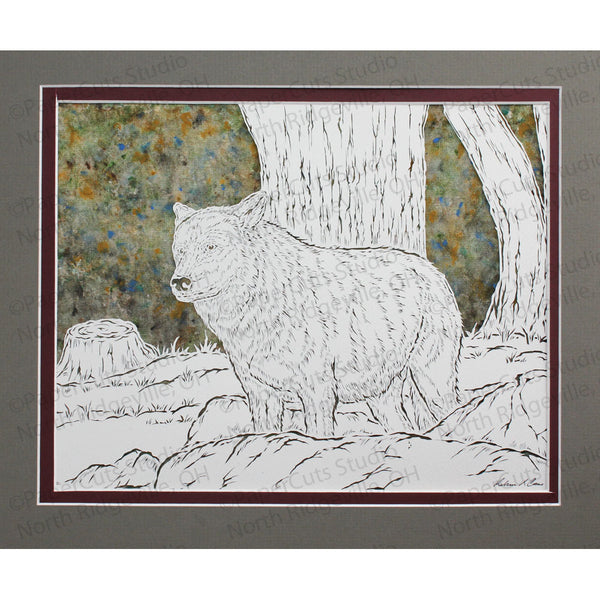 Guardian Wolf Cut Paper Art, Matted