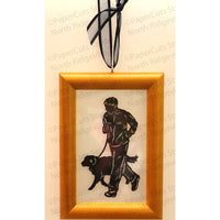 Run with Dog Cut Paper Ornament