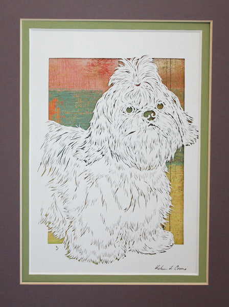 Shih Tzu Cut Paper Art, Matted