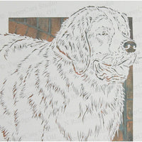 Saint Bernard Cut Paper Art, Matted