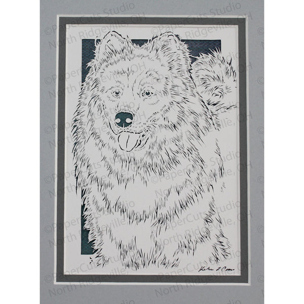 Samoyed Cut Paper Art, Matted