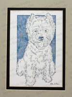 West Highland White Terrier Cut Paper Art, Matted