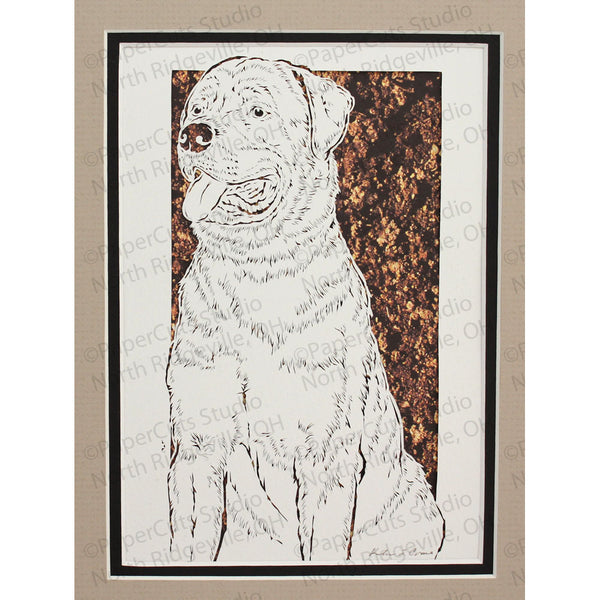 Rottweiler Cut Paper Art, Matted