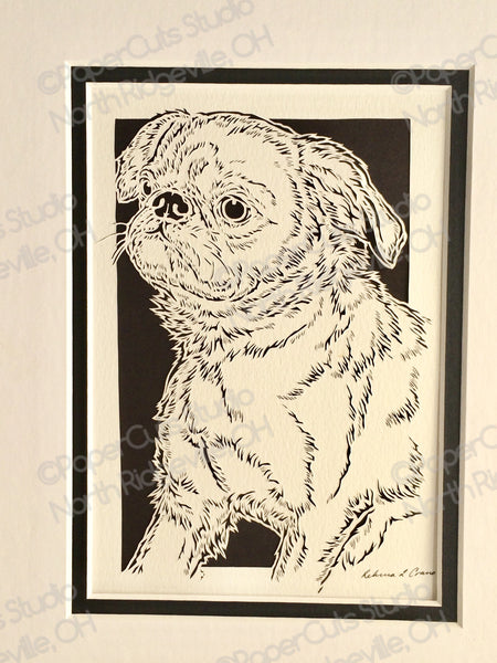 Brussels Griffon Cut Paper Art, Matted