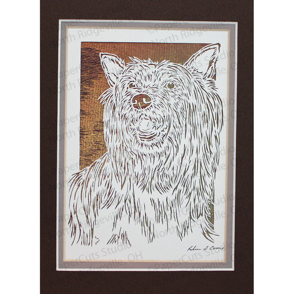 Silky Terrier Cut Paper Art, Matted