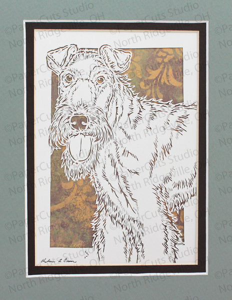 Wire Fox Terrier Cut Paper Art, Matted