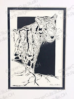Leopard Cut Paper Art, Matted