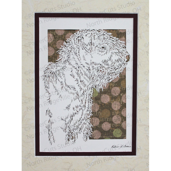 Soft Coated Wheaten Terrier Cut Paper Art, Matted