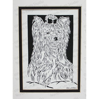 Yorkshire Terrier Cut Paper Art, Matted