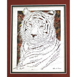 Tiger Cut Paper Art, Matted