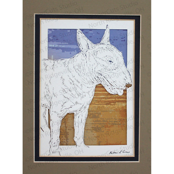 Bull Terrier Cut Paper Art, Matted