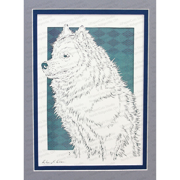American Eskimo Dog Cut Paper Art, Matted