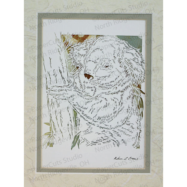 Koala Cut Paper Art, Matted