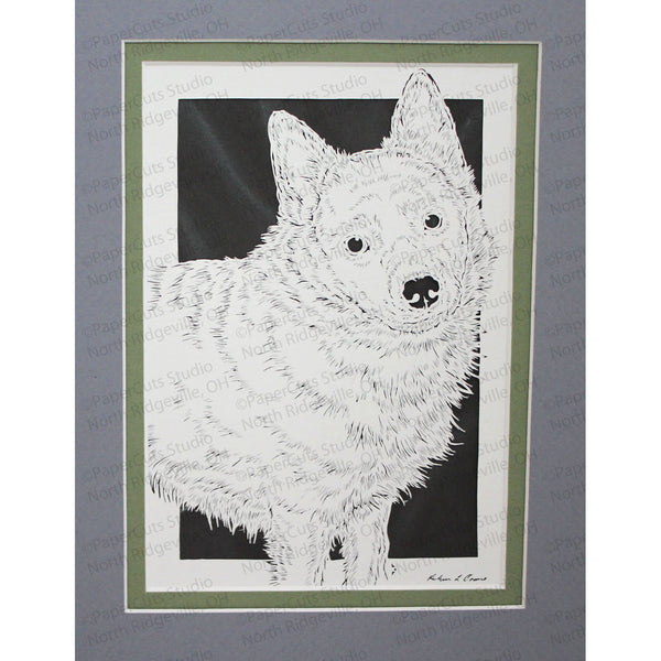 Schipperke Cut Paper Art, Matted