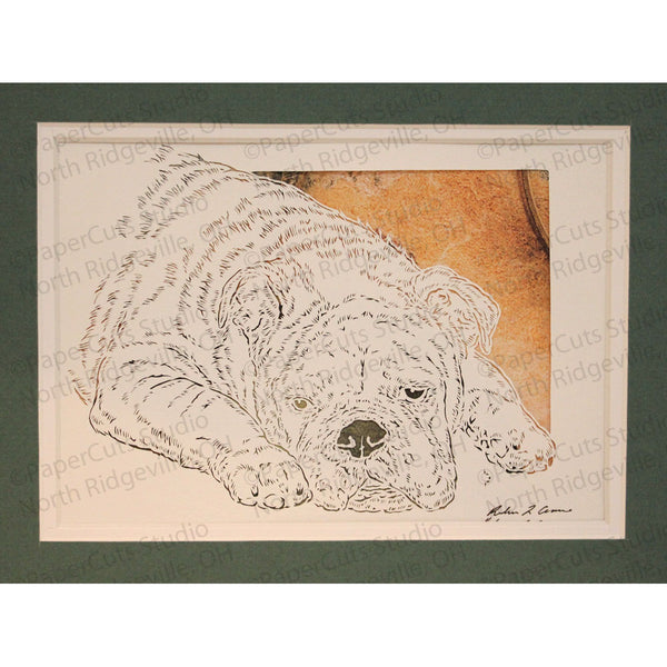Bulldog Cut Paper Art, Matted