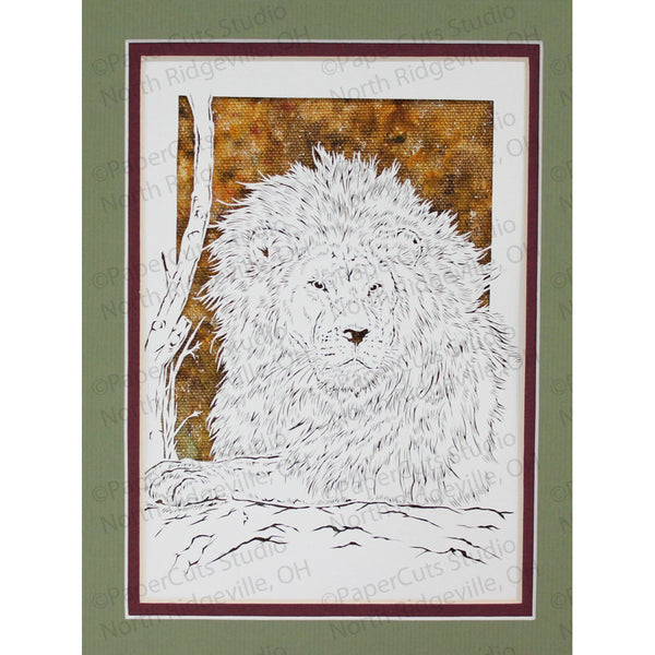 Lion Cut Paper Art, Matted