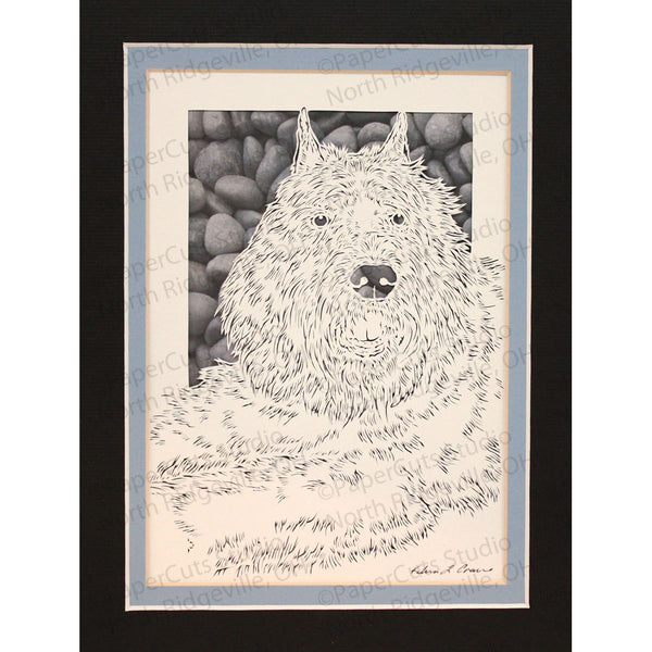 Bouvier des Flandres Cut Paper Art, Matted