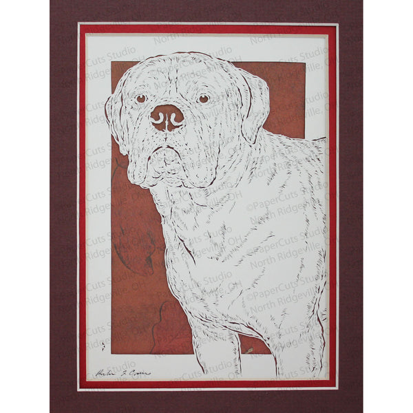 Bullmastiff Cut Paper Art, Matted