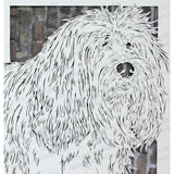 Tibetan Terrier Cut Paper Art, Matted