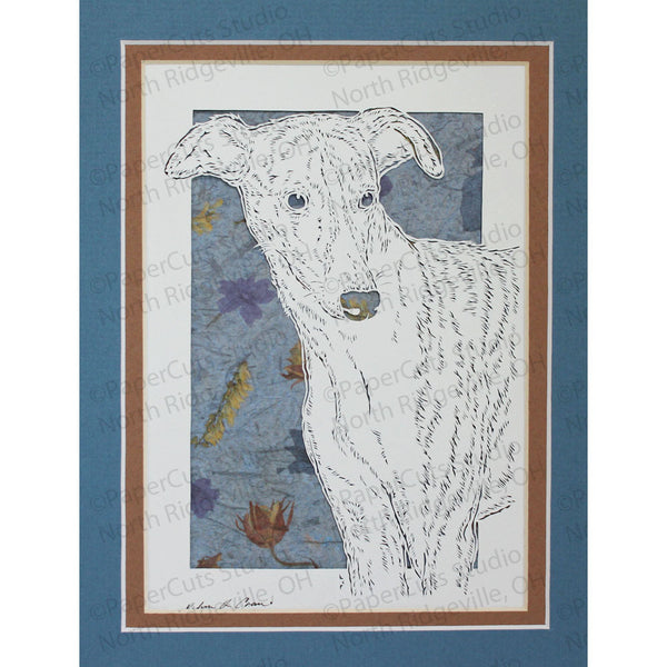 Whippet Cut Paper Art, Matted