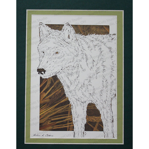 Wolf Cut Paper Art, Matted