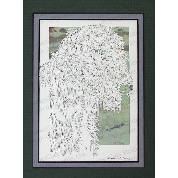 Scottish Deerhound Cut Paper Art, Matted