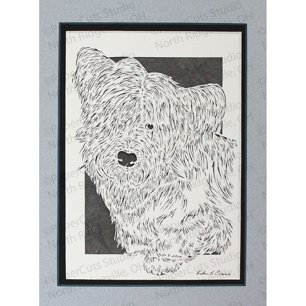 Skye Terrier Cut Paper Art, Matted