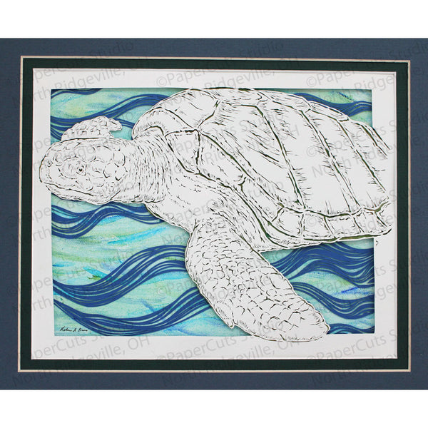 Turtle Cut Paper Art, Matted