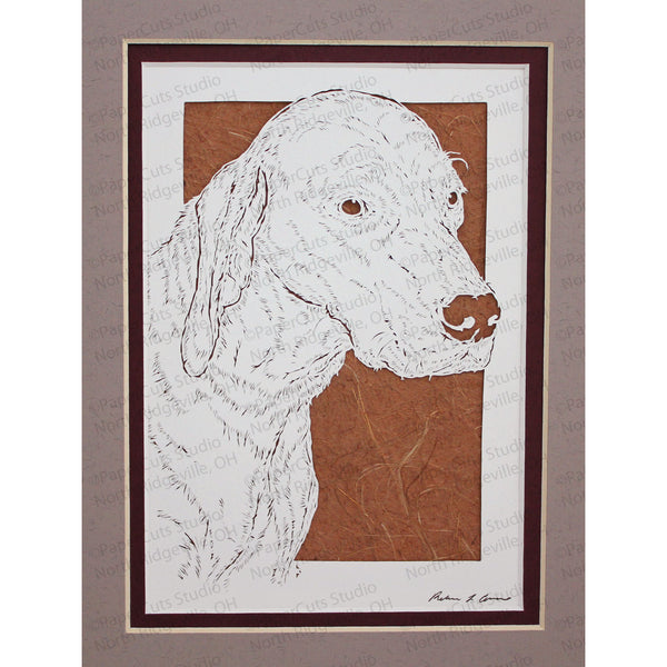 Vizsla Cut Paper Art, Matted