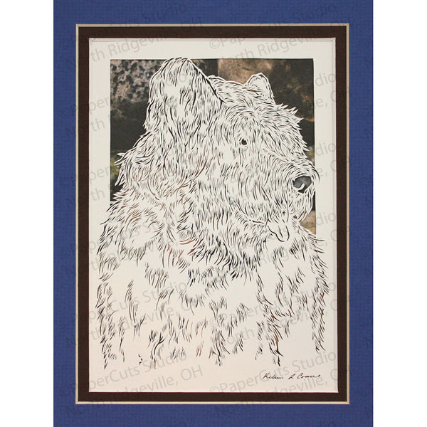 Briard Cut Paper Art, Matted