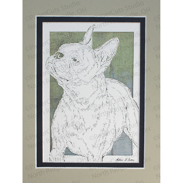 Boston Terrier Cut Paper Art, Matted