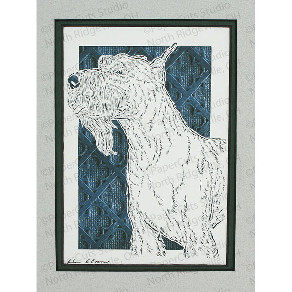 Schnauzer Cut Paper Art, Matted
