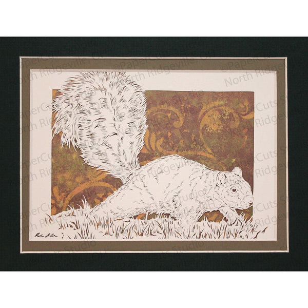 Squirrel Cut Paper Art, Matted