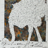 Ostrich Cut Paper Art, Matted