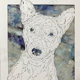 Basenji Cut Paper Art, Matted