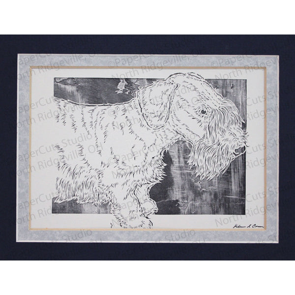 Cesky Terrier Cut Paper Art, Matted