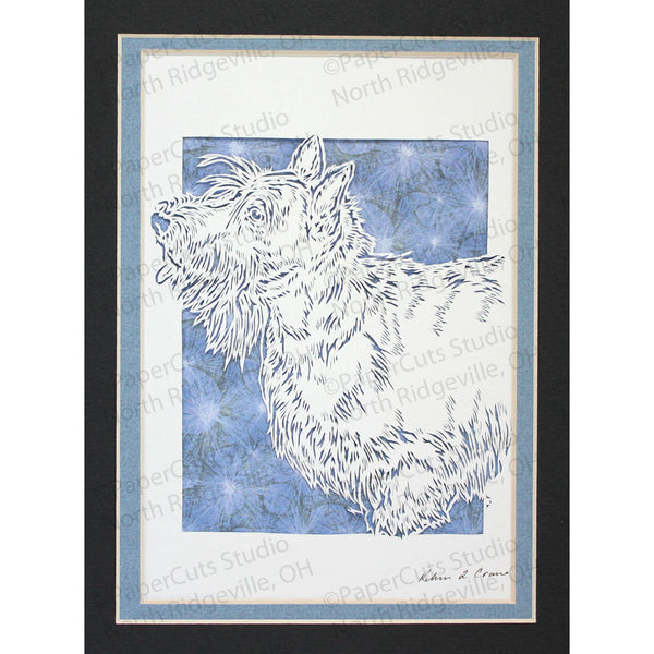 Scottish Terrier Cut Paper Art, Matted